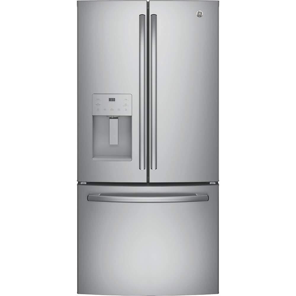 GE GYE18JSLSS 33 Inch Freestanding Counter Depth Side by Side Refrigerator in Stainless Steel (Certified Refurbished)