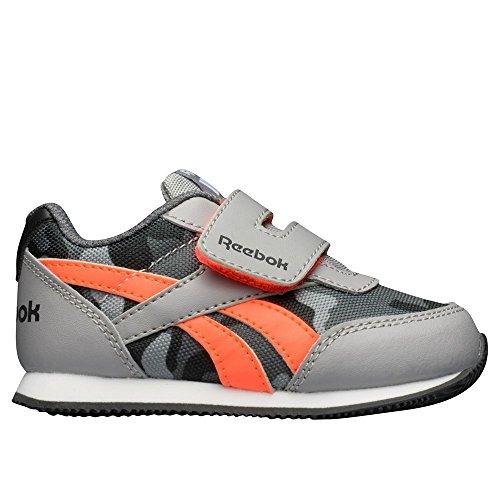 Reebok Royal Cljog 2gr Kc, Zapatos de Primeros Pasos Para Bebés Gris / Rojo / Negro / Blanco (Tin Gry / Atomic Red / Coal / Alloy / Wht)