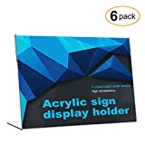CRUODA Acrylic Sign Display Holder, Thick Design,11'' x 8.5'', 6 pc, Menu Holders, Table Card Holders, Photo Frames, Crystal Clear Multipurpose Display