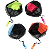 TOYMYTOY 4 pcs Tangle Free Hand Throw Mini Parachute Toy Classic Fly Toys for Kids Childrens Outdoor Sports (Blue, Orange, Yellow and Rosy)