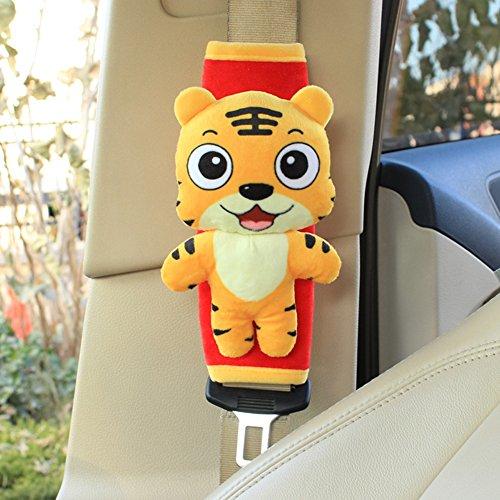 seemehappy 2 Pcs Mini Plushies Car Seatbelt Shoulder Pads Covers Seat Belt Cushions (Tiger)
