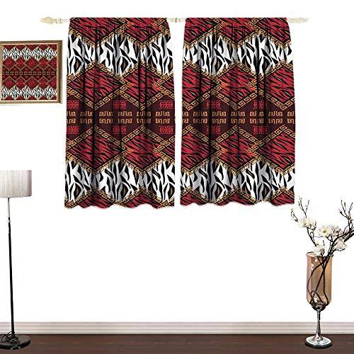 RenteriaDecor Safari Decor Blackout Draperies for Baby Bedroom African Style Wild Animal Skin Stylized Stripes in Diamond Pattern Tribal Artwork Blackout Drapes for Baby Bedroom W55 x L45