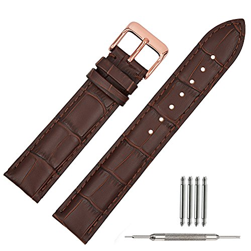 Fossil Leather Strap - TStrap Genuine Leather Watch Bands 22mm Brown Leather Watch Strap with Rose Gold Pin Buckle for Men Women