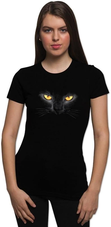 Amazon Com Halloween T Shirt Scary Shirts Black Cat Face Horror Tees For Women Clothing