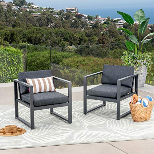 Great Deal Furniture 305394 Wally Outdoor Aluminum Club Chairs Set of 2 , Dark Gray and Black
