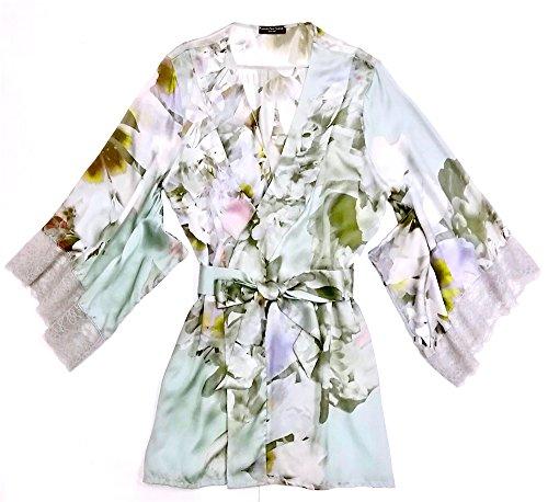 French Leavers Lace - Samantha Chang Women's Silk with Leavers Lace Yukata Robe w/Lace Trim (Gardenia, Small)