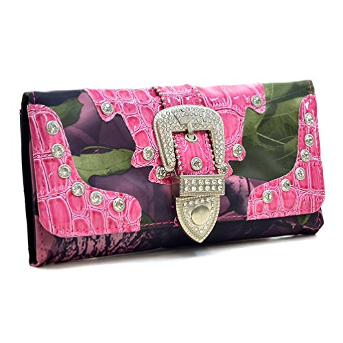 Way2Culture Western Camouflage Rhinestone Bling Buckle Wallet - Pink/CAM (Western Hot Purse Pink)