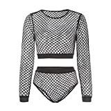 Cocoray Women Sexy Black Lace Hollow Fishnet Tight Lingerie Bodysuit Crop Top Brief Set for Night Club L