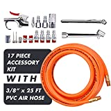 """WYNNsky 3/8""""X 25ft PVC Air Compressor Hose With 17 Piece Air Tool and Accessory Kit. Air Accessories Kit and Air Hose …"""