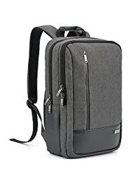 17.3 inch Laptop Backpack, Evecase Fabric and Leather Modern Business Padded Laptop Backpack with Accessory Pockets (Fits Up to 17.3-inch Macbook, Laptops, Ultrabooks) - Black / Gray