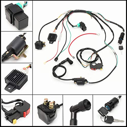 FloralLive Complete Electric Start Engine Wiring Harness Loom Solenoid Coil Regulator 110 125cc Quad Bike ATV Buggy: Amazon.co.uk: Kitchen & Home