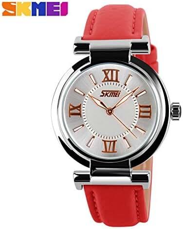 Girl's Fashion Genuine Leather Band Quartz Watch Red