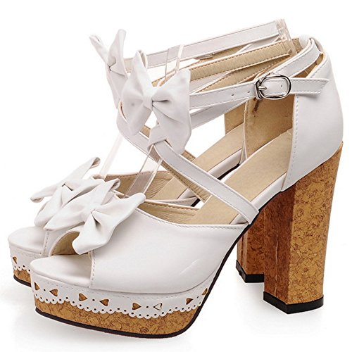 TAOFFEN Sandales Femmes Croisee Talons White Sangle 6wYrqC6