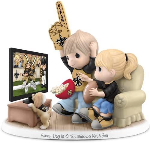 The Hamilton Collection Precious Moments Every Day is A Touchdown with You Saints Figurine