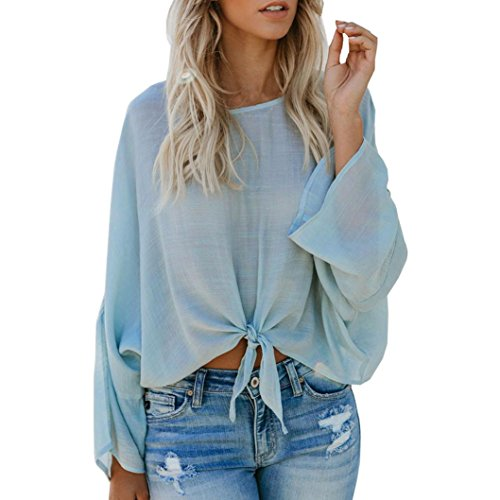 Blouse Women Long Sleeve Bandage O-Neck Loose Tops Pullover Shirt by Gergeos (Light Blue,S)
