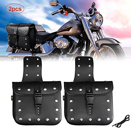 Motorcycle Saddle Bag Medium Waterproof Insulated PU Leather Side Bag for Harley Sportster Softail Honda Suzuki Yamaha Cruiser 1 Pair (Yamaha Motorcycle Leather)