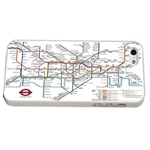 White Frame London Underground Tube Map Design- iphone 5 5S Case/Back cover Metal and Hard Plastic case