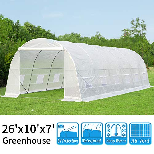 YOLENY 10'×26'×7′ Larger Hot Green House, Walk in Outdoor Plant Gardening, Greenhouse, UV Protection and Waterproof (White)