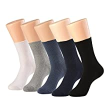 Diabetic Comfortable Circulatory Crew Socks Unisex 5-Pack with Non-Binding Top