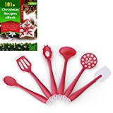 Silicone Cooking Utensils for Kitchen, Set of 6, Red, Non-stick, Plus 121 Cooking Secrets Ebook