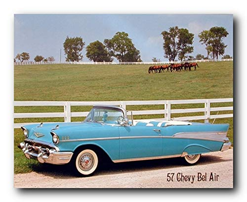 Car Wall Decor 1957 Chevy Bel Air Brad Wagner Vintage Art Print Poster (16x20)