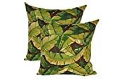 Set of 2 - Indoor / Outdoor 17'' Square Decorative Throw / Toss Pillows - Brown and Green Tropical Palm Leaf