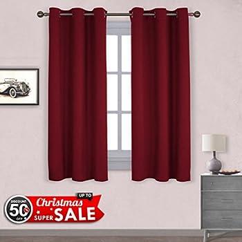 Amazon.com: NICETOWN Burgundy Christmas Draperies Curtains - Thermal ...