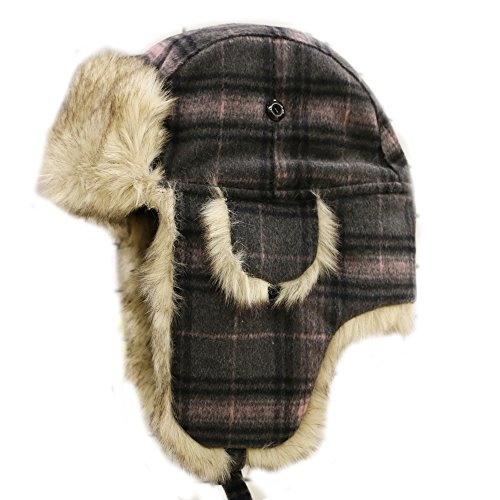 CITY HUNTER W680 Wool Premium Solid Trapper Hats Multi Colors (Plaid Gray)