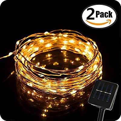 Anxus Outdoor Solar Powered String Lights, 33ft 100 LED Fairy Starry Copper Wire Rope lights for Indoor, Garden, Home, Patio, Wedding, Christmas Party and Holiday Decorations (2 Pack)
