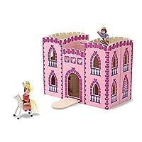 Castillo de princesa de madera Melissa & Doug Fold and Go con 2 figuras Royal Play, 2 caballos y 4 muebles