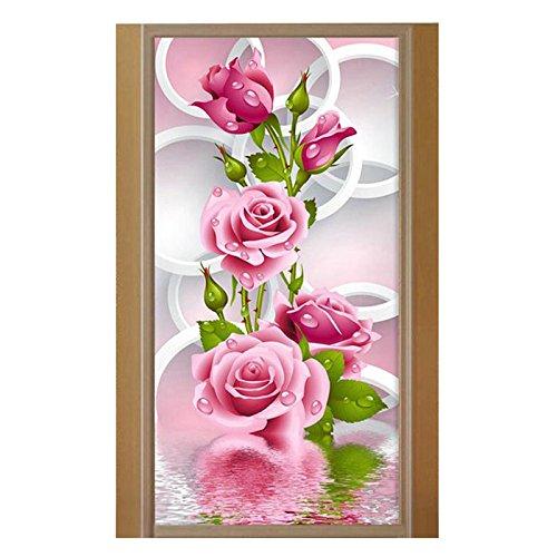 Painting Cross Stitch - 5d Diy Diamond Painting Pink Rose Round Diamant Embroidery Cross Stitch Needlework Craft Home - Pattern