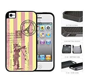 Pastel Pink & Yellow Stripes with Joker Card & Paris Stamp Postcard iPhone 4 4s 2-piece Dual Layer High Impact Black Silicone Cover by ruishername