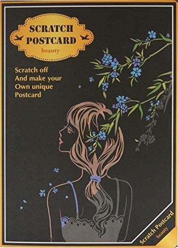 スクラッチアート ポストカード 建物 花 動物 簡単 削る ヒーリング 4枚入り 絵画 スクラッチ カード 癒やし 暇つぶし