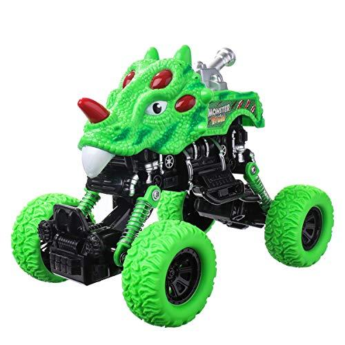 (Pickwoo Dinosaur Pull Back Car, Dinosaur Toys, Dino Monster Truck, Durable Friction Powered Cars Off-Road Vehicle, Green Pullback Animal Cars for Kids Boys Girls)