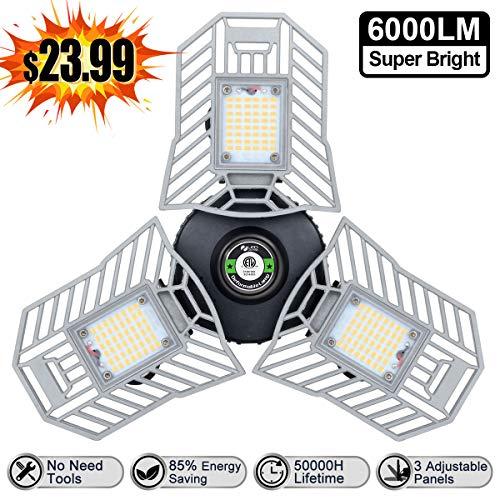 Led Garage Light 6000 Lm Deformable LED Garage Ceiling Lights 60W CRI 80 Led Workshop Lights for Garage Adjustable Panels Tribright Led Garage Lighting Basement Garage Lights(NO Sensor)