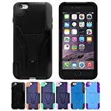 iPhone 6s, 6 case, HLCT Soft Interior Silicone Bumper, Hard Shell PC Back, Shock-Absorption Hybrid Dual-Layer Slim Cover with Built-in Stand Kickstand for iPhone 6s/6 [4.7 Inch] (Black)
