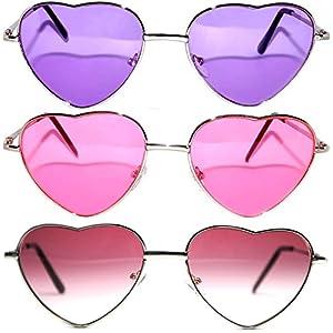 3 Pack Heart Shaped Silver Metal Frame Aviator Sunglasses Pink Purple Brown