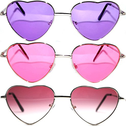 3 Pack Heart Shaped Silver Metal Frame Aviator Sunglasses Pink Purple ()