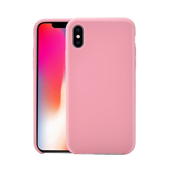 new concept eb749 395d0 iPhone X Silicone Case,Liquid Silicone Rubber Case with Soft Microfiber  Cloth Lining Cushion Protective Case for iPhone X 10 (Pink)