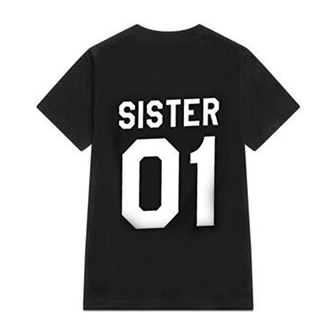 Juleya Pärchen T Shirt Bequem Crew Neck Shirt Sister 01