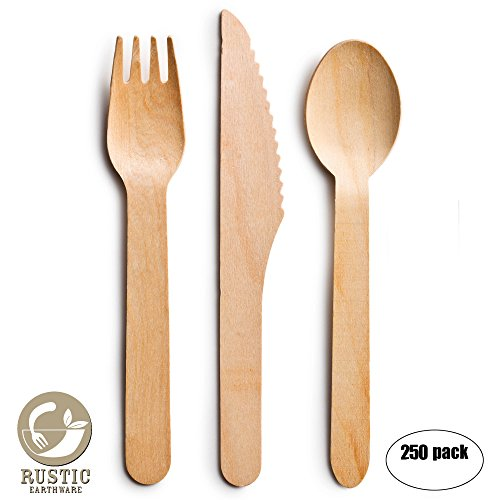 Mixed Designed Garden Well (Disposable Wooden Cutlery 250pc Set by Rustic Earthware | Biodegradable Utensils | 100 Forks, 100 Spoons and 50 Knives | Parties, Weddings, and Showers | Bonus Ebook)