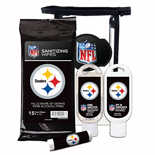(Worthy Promotional NFL Pittsburgh Steelers 4-Piece Premium Gift Set with SPF 15 Lip Balm, Sanitizer, Wipes, Sunscreen)
