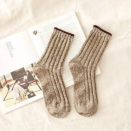 KWXHG Día de otoño e Invierno Punto de algodón Color de Golpe Pila Lateral Calcetines Calcetines