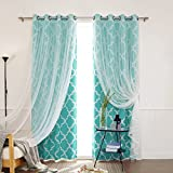 Cheap Best Home Fashion Mix and Match Tulle Sheer Lace and Room Darkening Moroccan Print Curtain Set – Antique Bronze Grommet Top – Blue – 52″W x 96″L – (2 Curtains and 2 Sheer curtains)