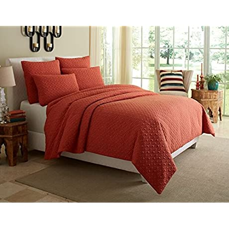 Michael Amini 5 Piece Fillmore Coverlet Duvet Set Queen Red Orange