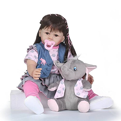 Nicery Reborn Baby Doll Soft Simulation Silicone Vinyl 24inch 60cm Magnetic Mouth Lifelike Vivid Boy Girl Toy Blue Coat Gray Elephant RD60C007W
