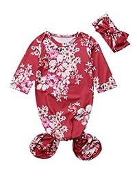 remeo suit 0-6Months Newborn Baby tie Gown Floral Print Mermaid Tail Gown Sleepy Baby Sleeping Bag Romper with Headband