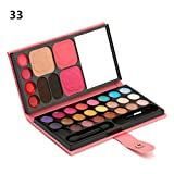 Clearance! Portable Pro 33 Color Makeup Palette Eyeshadow Blush Lip Gloss Powder + Makeup Brush + Mirror Cosmetics Set (A)