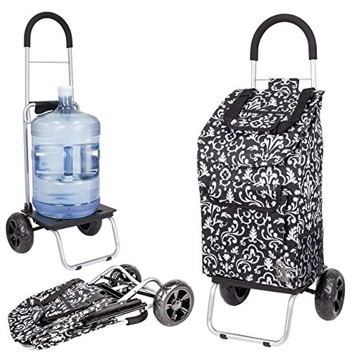 dbest products Trolley Dolly, Damask Shopping Grocery Foldable Cart