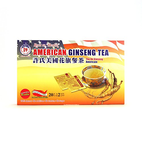 Hsus Ginseng SKU 1034 | American Ginseng Tea, 20ct | Cultivated American Ginseng from Marathon County, Wisconsin USA | 许氏花旗参茶 | 20ct Box,西洋参, B000153R40